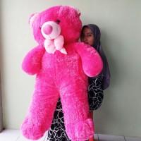 Boneka Teddy Bear Super Jumbo Pita Pink Fanta SNI Uk.120cm