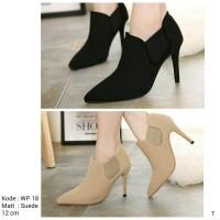 Sepatu High Heels Boots Wanita Polos