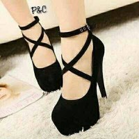 harga High Heels Murah/High Heels Lucu/High Heels Tali gelang silang hitam Tokopedia.com