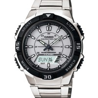 Casio Jam Tangan aqs800wd-7 stainless Analog Digital Tough Solar surya