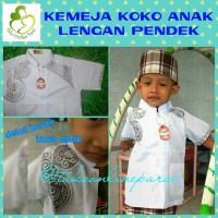 Pakaian baju kemeja muslim koko anak lengan pendek putih bordir sz 5-7