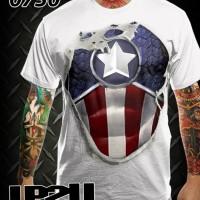 harga Kaos Distro 3D - Captain America Sixpack New Tokopedia.com