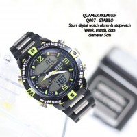 Jam Tangan Pria Digital Analog Sporty Quamer Stainless Steel LED