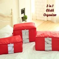 1 set = 3 pcs Cloth Storage Box organizer | selimut bed cover