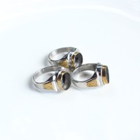 Emban cincin akik monel dua warna tanam size batu kecil