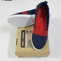 North Star 9104 - Sepatu Flat Wanita Canvas Casual Navy / Merah