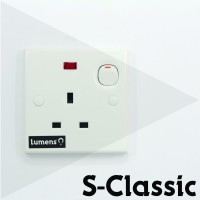 Schneider-S-Classic-1Gang-StopKontak-Sakelar&Indikator-Putih