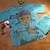Setelan Baju Tidur Murah / Baju Tidur Pendek / Set Girl Biru Tosca