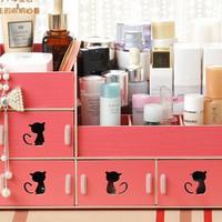 Rak Kosmetik Kayu / Rak Organizer Kosmetik Desktop Storage - RAH229