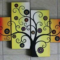 harga lukisan minimalis panel pohon rainbow dot aborigin Tokopedia.com