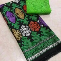 Kain bahan kebaya brukat / brokat dan satin songket jembrana hijau