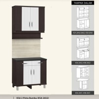 Kitchen Set atas dan bawah 2 Pintu + Rak Bumbu Anata Series