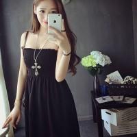 harga dress korea kemben putih hitam import Tokopedia.com