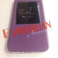 Casing Asus Zenfone 2 5 inch Flip Case Ume Big View Purple Flip Cover