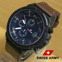 Jam Tangan Swiss Army SA1359 Kw Super Dark Brown List White