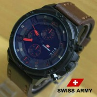 Jam Tangan Swiss Army SA1359 Kw Super Dark Brown List Red