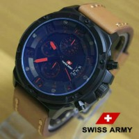 Jam Tangan Swiss Army SA1359 Light Brown List Red