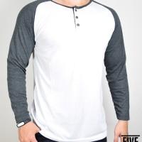 Kaos Raglan Lengan Panjang Kancing Putih Hitam (T0134)
