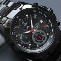 jam tangan pria SEIKO Chronograph fullblack & silver stainless