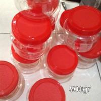 Toples kue kering/ wadah plastik/ jar cannister/ 500gr/ kue lebaran