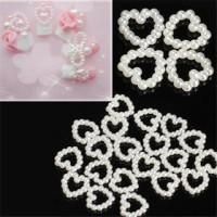 heart pearl mutiara hati putih white nail art hiasan kuku case hp set