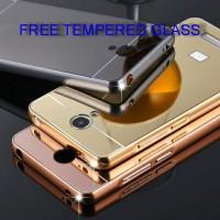 Redmi Note 2 Aluminum Metal Bumper Mirror Case Gratis Tempered Glass