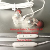 Promotion New Transparent Sport Earphone + Mic + Volume Control Headset