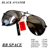 kaca mata yunisex rb space black aviator