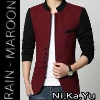 Blazer RAIN-MAROON - Jas Semi Formal Pria Slimfit Korea Pesta Wisuda