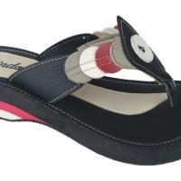 Sepatu Sandal Wanita Online Sintetis Sol Spon Hitam RNZ 530