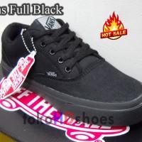 Sepatu Kets Casual Vans Full Black Hitam Keren utk Kuliah Sekolah