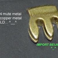 violin mute / 3-prong copper metal gold violin mute NEW..!! import