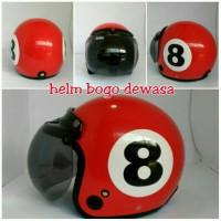 Helm Bogo Retro Klasik HJT Billiard Angka 8 Merah SNI