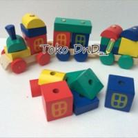 Mainan Edukatif / Edukasi Anak - Puzzle Balok Kayu - Kereta Pelangi