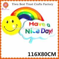 Balon foil have a nice day smile rainbow / happy birthday murah