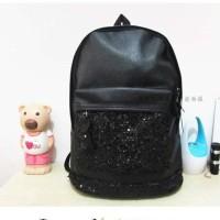 Zooey Backpack Tas Ransel Wanita Import Bahan PU Hitam