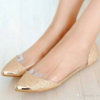 Sepatu Wanita Teplek Flat Shoes Mika Glitter Dubai Pasir Gold Emas