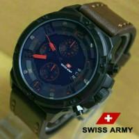 Jual Jam Tangan Swiss Army SA 1359 Chrono Leather Dark Brown Red Kw .