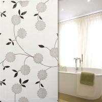 Jual Tirai Kamar Mandi Grey Flower Anti Air (Shower Curtain Waterproof