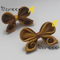Bros Jilbab / Kanzashi Bow Brooch / Pita Kanzashi Coklat - Kuning Emas