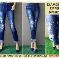 Celana Ripped Jeans Bigsize 31-34 Diamond Sobek Tidak Tembus