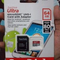 Micro SD Card SanDisk 64GB Ultra CLASS10 80Mbps NEW - GARANSI RESMI
