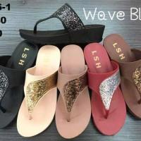 Sendal Sandal Jelly Shoes Wanita Cewek Karet Lentur Wave Blink Murah