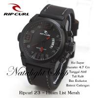 JAM TANGAN PRIA SPORT SUPER RIPCURL 23 TALI HITAM NATALIGHT SHOP