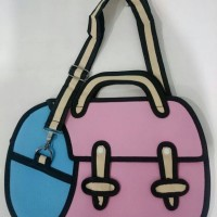 Jual Tas 3D / 2D Cartoon Bag - DESIGN Retro Traveller (Pink-Blue) - OEM JFP Murah