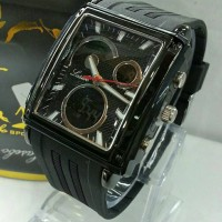 Jam Tangan Pria Lasebo Double Time Original Black Persegi