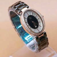 GC OVAL CERAMIC BLACK ROSEGOLD FOR LADIES