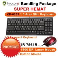 I-Rocks Bundling 1.5Area Scissor Keyboard & Laser Mouse 800/1600DPI