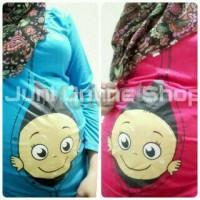 harga Baju Hamil Unik BabyPeek2 Biru dan Pink Maternity T Shirt Juni Tokopedia.com