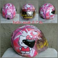 Helm Anak Retro Kulit Klasik umur 2-6 Tahun Motif Hello Kitty Pink